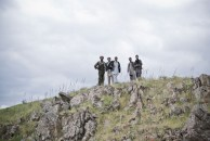 Men on the mountain above Turgani, where large cracks indicate that the slope is unstable