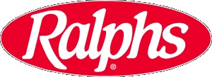 Ralphs Logo, red oval with white lettering, spelling out Ralphs.