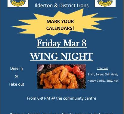 Wings Night Reminder March 8, 2019