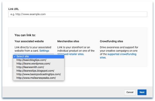 YouTube Card Associated Website Menu
