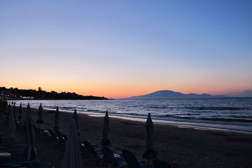 sejour a zante Coucher de soleil sur la plage de Tsilivi