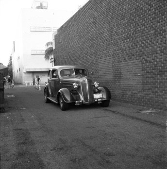 Black and white film shot of vintage car by Bill mcCarroll. Shot in #ilforddelta3200