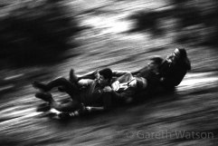 Black and white image of Ice Slide at Clifton Suspension Bridge #HP5 pushed to 3200