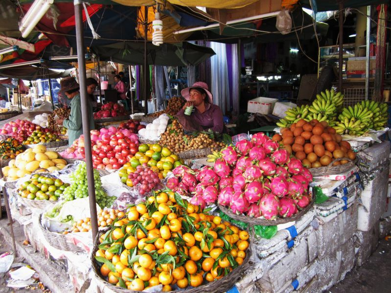 local food stall in a Siem Reap market