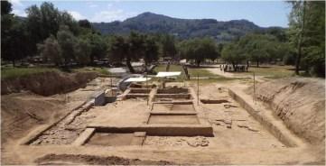 Άποψη από βόρεια της ανασκαφής του αρχαίου Γυμνασίου της Ολυμπίας