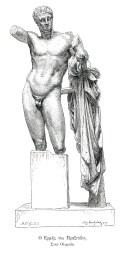 Το σύμπλεγμα Ερμή και Διονύσου, έργο του Πραξιτέλη. Σχέδιο