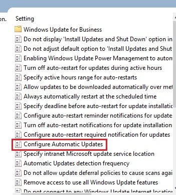 disable update through group policy
