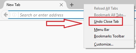 open recently closed tab or restore closed tabs, restore tabs in firefox
