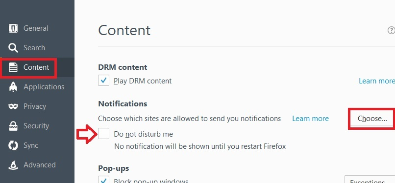 turn off push notifications firefox, turn off all notifications firefox, browser notifications