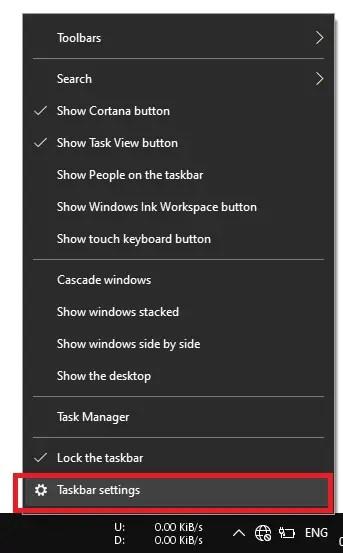 Change Taskbar Settings