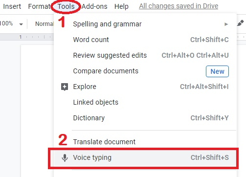 How to turn on voice typing on google docs, How to enable voice typing google docs