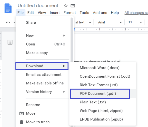 How to save google doc as pdf on computer