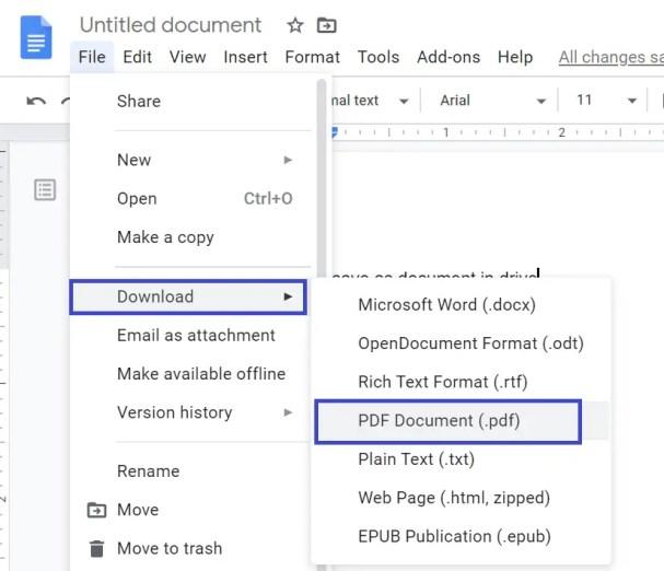 save google docs as a pdf document