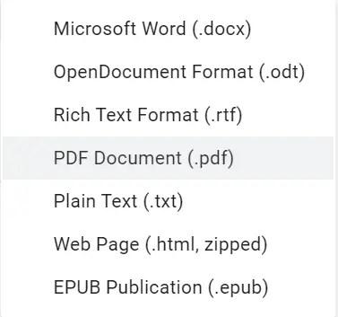 convert google doc into microsoft word