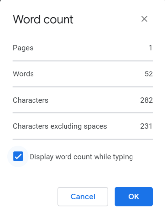 how to see word count on google docs