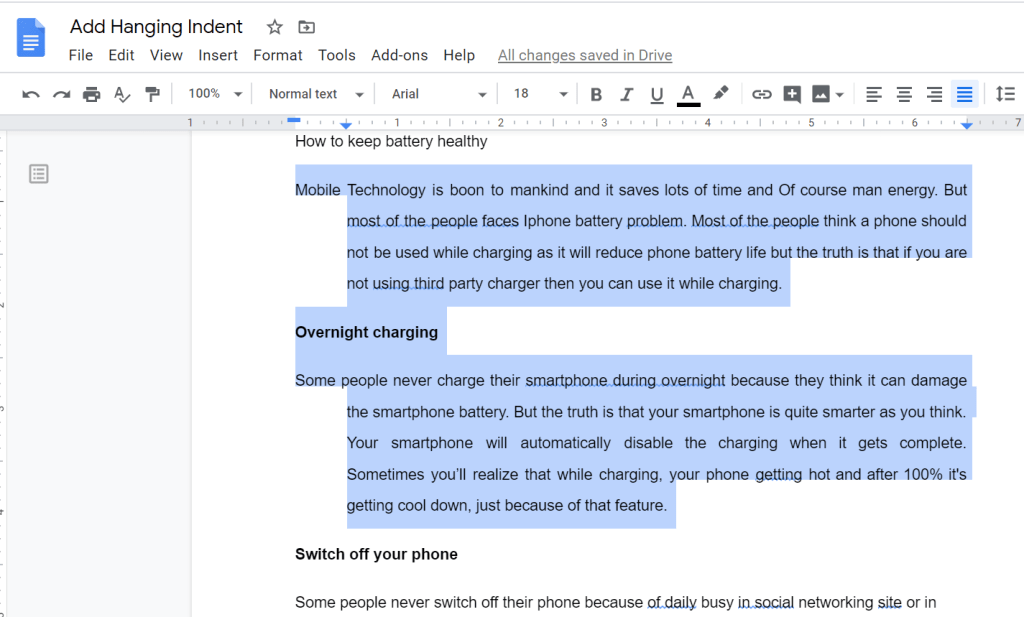 hanging indent example,how to do a hanging indent in google docs