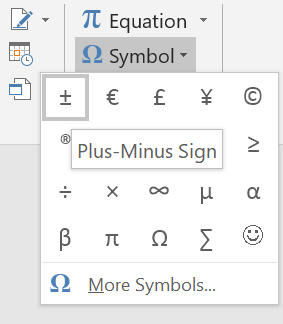 Plus Minus Symbol in Word