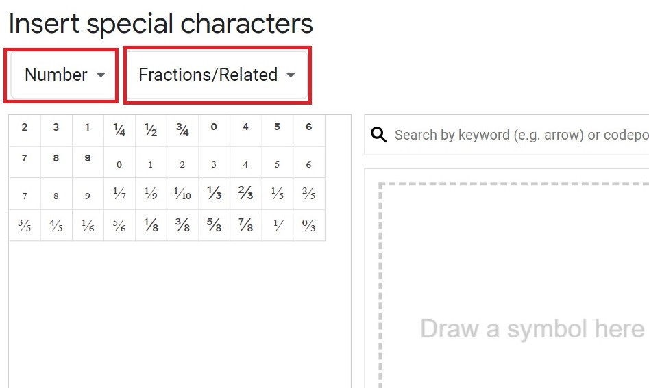 How to write fractions in Google docs, fractions in google docs, how to make fractions in google docs