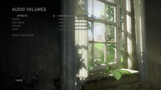 Main Menu - Last Of Us - Options - Audio - Volumes