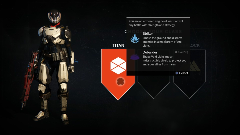 Class Selection (Character Customization) - Destiny