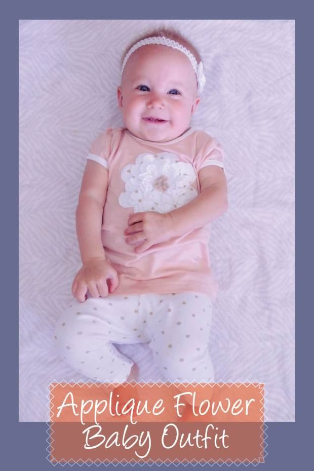 applique flower baby outfit
