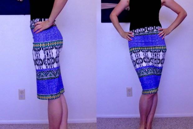 Renee C Melisa Printed Pencil Skirt