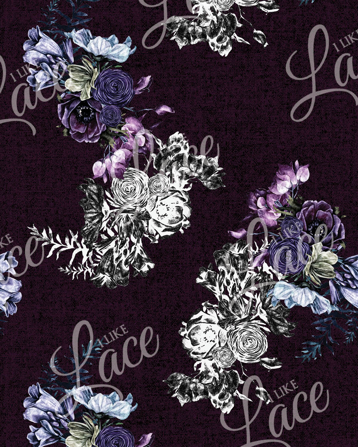 plum purple floral knit fabric for children's clothing