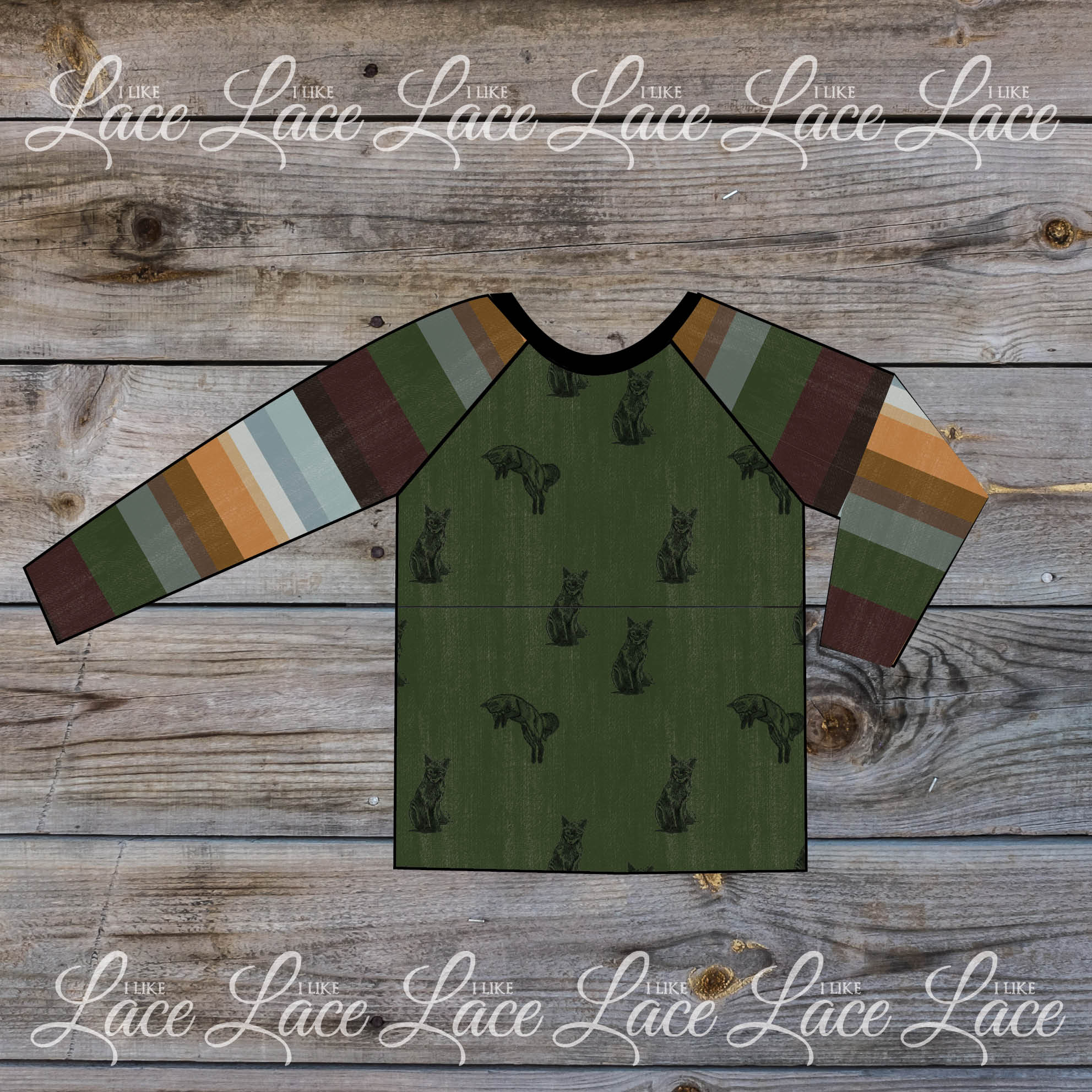 green stripe raglan