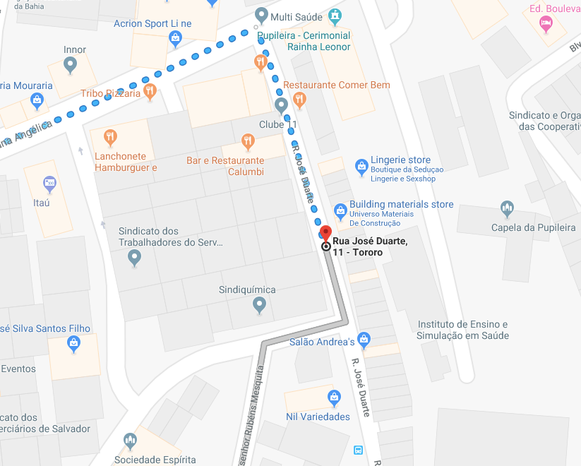 google map directions to the ,most popular gay sauna in Salvador