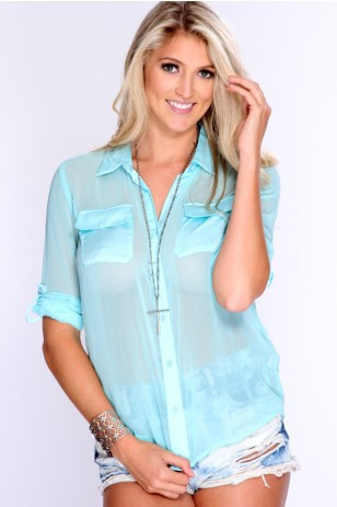 Aqua Short Sleeves Sheer Dressy Top - $28.99