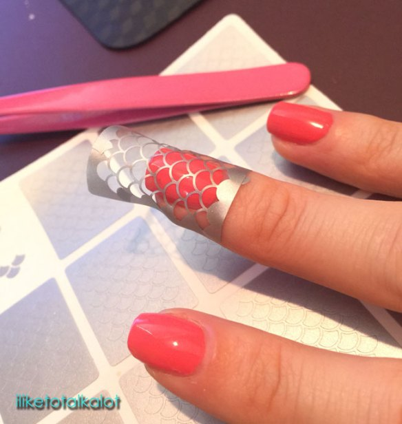 mermaid-nails with whatsup nail stencils by iliketotalkblog