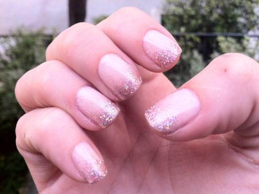 glitter nails glitter nail tips nude glitter