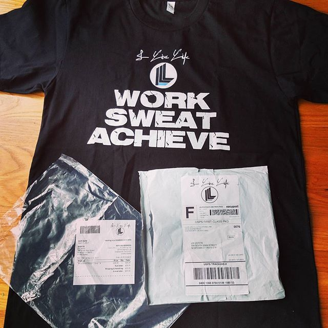 WORK. SWEAT. ACHIEVE. ilivelifeill.com #ilivelifeill.....#product #packing #packaging #ill #Life #lifestyle #gym #electricity #fitness #fashion #tee #gymtee #workout #instafollow #motivation #worksweatachieve #work #sweat #achieve #greatness #lift #signature #autograph #startup #online #shop #store #clothing #instagood
