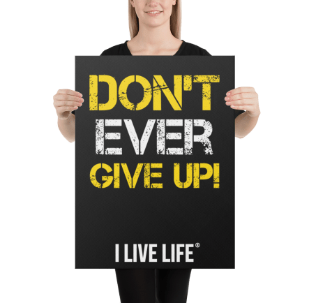 Don't Ever Give Up motivation canvas wall art on ilivelifeill.com