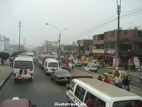 Street on the outskirt of Lima, Peru on the way to the highway to Huaraz