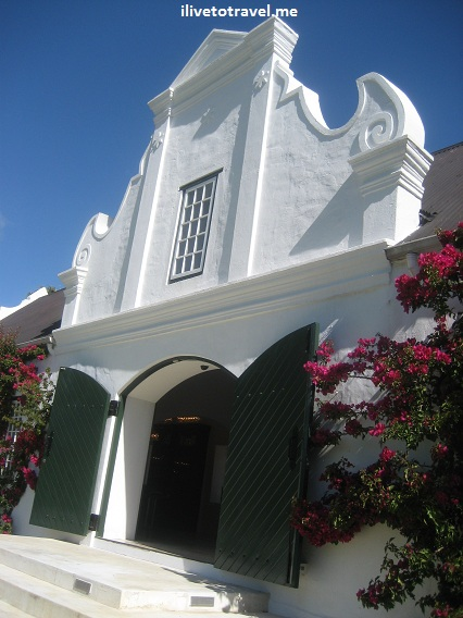 Typical construction in Cape Dutch architecture style in the Stellenbosch wine region of South Africa