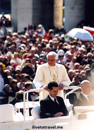 Pope Benedict XVI doing the rounds after the Papal Audience in St. Peter's Square