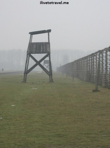 Guard tower in Auschwitz concentration camp in Poland, near Krakow