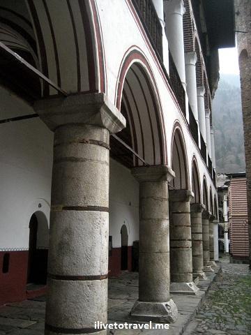 Rila Monastery hallway in Bulgaria