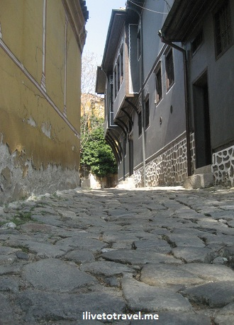 Side street in old Plovdiv, Bulgaria