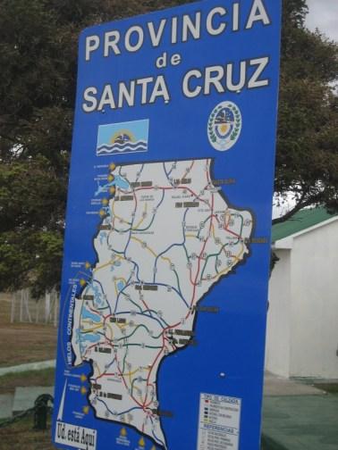 Map of the province of Santa Cruz, Argentina with El Calafate and Perito Moreno