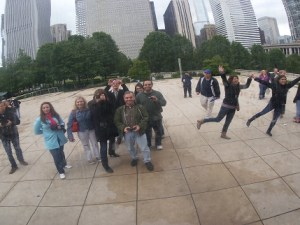 Tourists at the Cloud Gate in Chicago, also known as The Bean