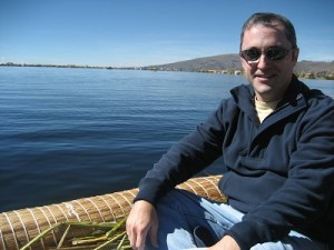 On a boat in Lake Titicaca ready to visit the Uros Islands, floating islands