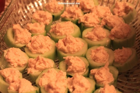 Lobster dip from Costco served in cucumbers