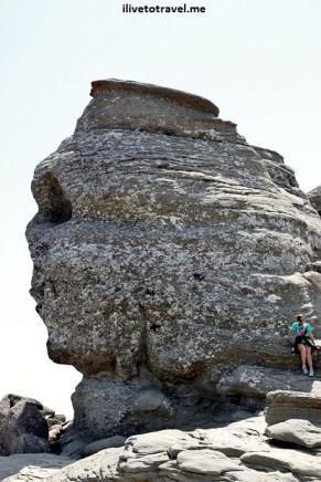 Sphinx-like rock in the Bucegi Mountains near Omu Peak, Romania