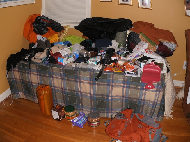 packing gear for hiking trip