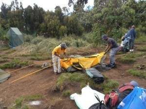 Camp being set up in Kilimanjaro