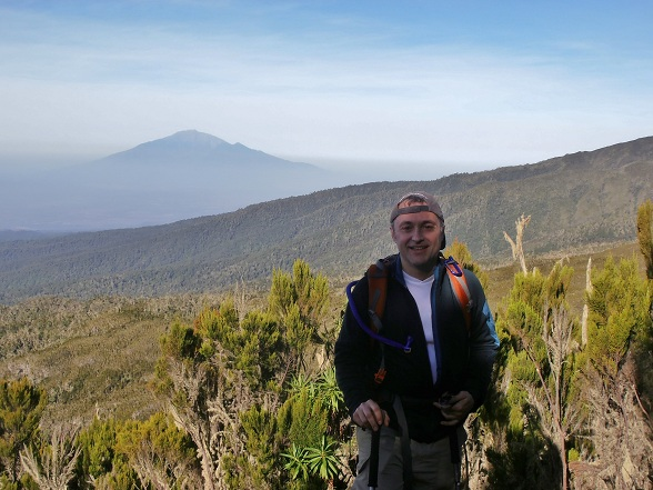 View of Mt. Meru from Mt. Kilimanjaro