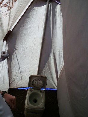 Toilet in a tent in Mt. Kilimanjaro