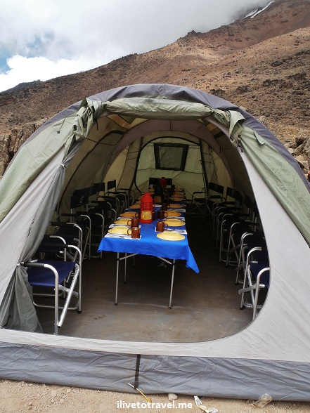 DIning tent while hiking Mt. Kilimanjaro